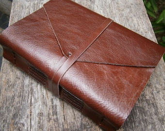 "Genuine Leather Journal / Handmade / LARGE / 6X8"" / Free Initials / Plain or Lined"