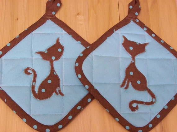 Polka Dot Kitty Pot Holders