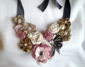 Blooming flower bib necklace