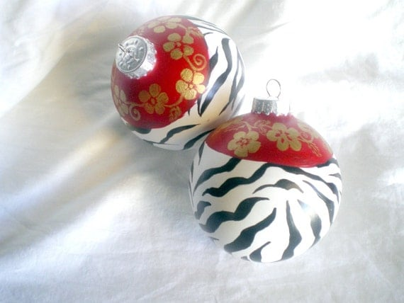 Two zebra print christmas ornaments