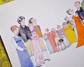 Jane Austen, 'Sense & Sensibility' literary illustration print (small)