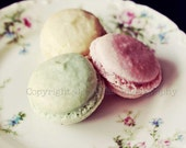 Macarons Photography  - Un Deux Trois -  Shabby Chic Tea Party Pastel French Macarons Photography Print (10x8) - Pink Mint Yellow Macarons - JessaMaePhoto