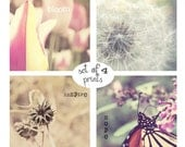 Pastel Nature Photography Set Butterfly Dandelion Puff Tulip - Words of Inspiration - ( Four 8x8 Photos) Pink Yellow Gray Baby Nursery Art