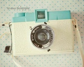 Diana Camera Photography Print , Vintage Camera Art, Pastel Camera Print, Cream, Turquoise, Polka Dot, Camera Wall Art, Camera Still Life