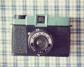 Vintage Camera Print, Camera Photo, Diana Camera Art, Turquoise, Black, Retro Camera Wall Art, Still Life Camera, Vintage Camera Decor