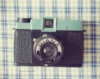 Vintage Camera Print, Camera Photo, Diana Camera Art, Turquoise, Black, Retro Camera Wall Art, Still Life Camera, Vintage Camera Decor