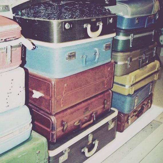Vintage Suitcases -  Retro Multicolor Suitcases Photography (5x5 square photo) - Travel Road Trip Retro Burgundy Blue Suitcases Decor