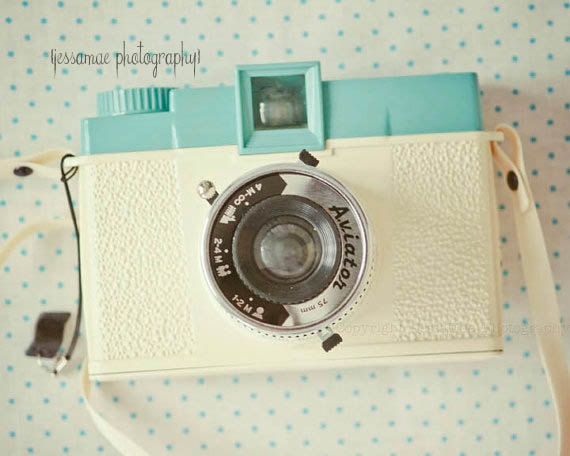 Diana Camera Photography Print , Vintage Camera Art, Pastel Camera Print, Cream, Turquoise, Polka Dot, Camera Wall Art, Camera Still Life