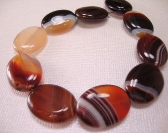 Brazil Brown Lace Agate Oval Beads