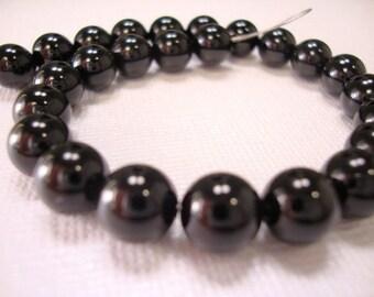 Black Onyx Smooth Round Bead Strand