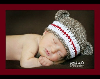 Boys Sock Monkey hat - photo prop - monkey photo prop - sock monkey - baby shower gift - made to order