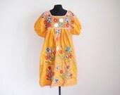 Vintage 70's Orange Mexican Oaxacan Hippie BoHo Dress