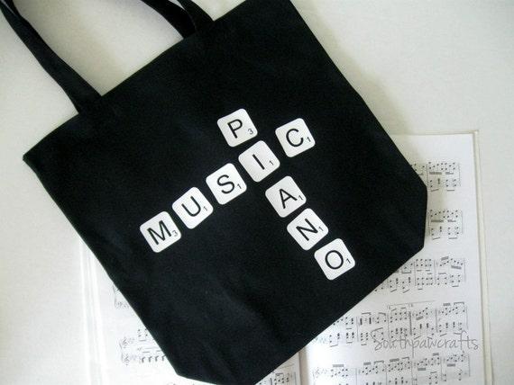 Piano Music Scrabble Tile Tote Bag - Music Tote