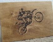 Wood Burned Dirt Bike Motor Cross Plaque