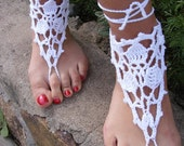 Hand crochet barefoot lace sandals white pure cotton