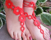 FLOWER GARDEN handmade crocheted barefoot sandals in red colors with crochet flowers
