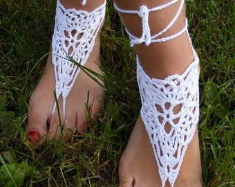 Barefoot Sandals. Hand crochet barefoot lace sandals white pure cotton FREE SHIPPING