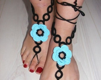 Hand crochet pure cotton sexy barefoot sandals blue-black (nr 23)