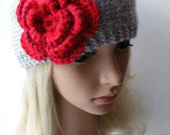 Grey Hand Knitted Headband Ear Warmer With Bright Red Crochet Flower
