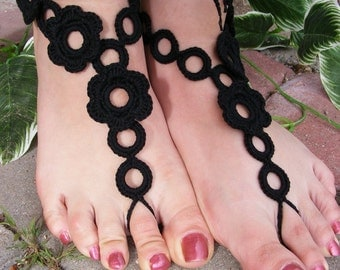 FLOWER GARDEN handmade crocheted barefoot sandals in black colors with crochet flowers