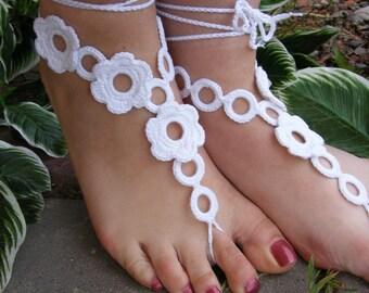 FLOWER GARDEN handmade crocheted barefoot sandals in white color with crochet flowers