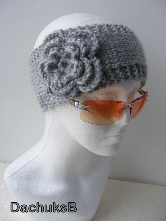 Hand knitted headband ear warmer with crochet flower gray