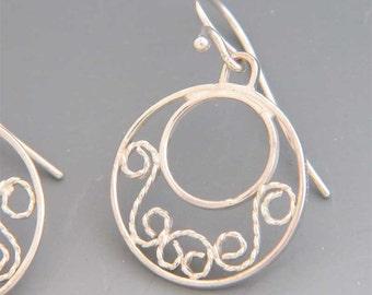 Dainty Filigree Earrings in Sterling Silver