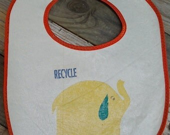 Elephant Fused Plastic Grocery Bag Baby Bib / Recycled / Upcycled / Washable / Awesome