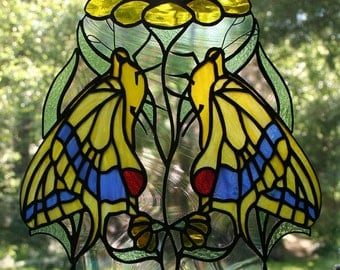 Twin Butterfly Stained Glass Suncatcher