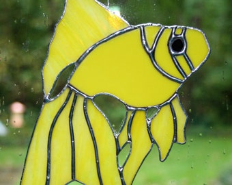 Stained Glass Yellow Fish Suncatcher