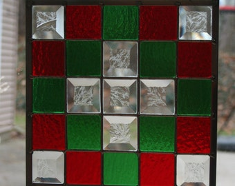 Christmas Quilt Stained Glass Panel