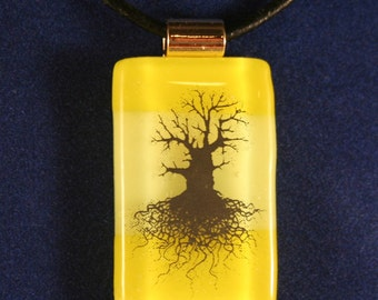 Yellow Fused Stained Glass Tree of Life Pendant