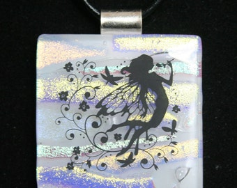 Fused Stained Glass Dichroic Fairy Fantasy Pendant