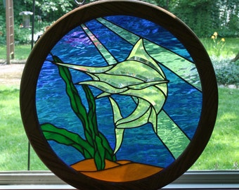 Beveled Stained Glass Framed Marlin Panel