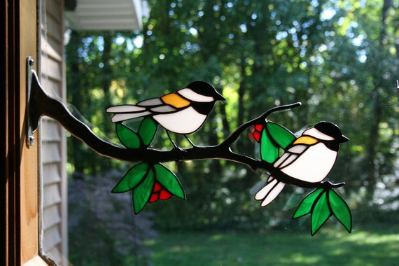 Stained Glass Chickadee On Branch