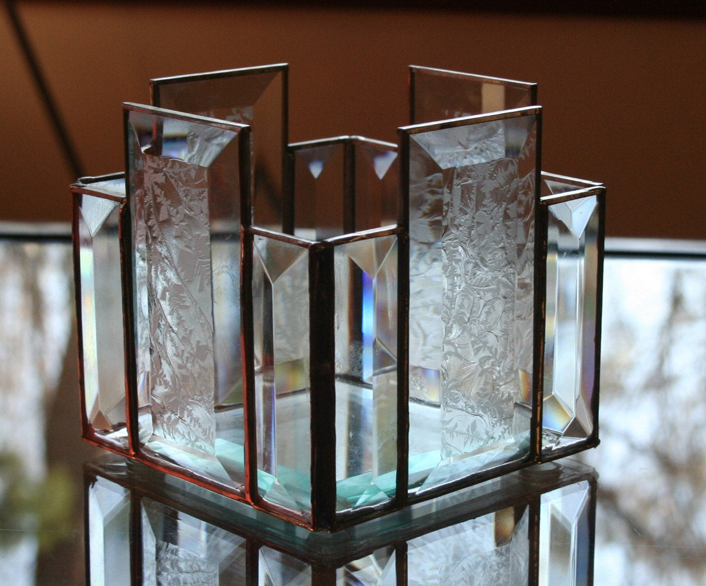 Clear Stained Glass Beveled Candle Holder