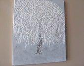 """Original Art - Mixed Media - Textured - """"White Willow ~ Encased in Ice """" - International Shipping"""