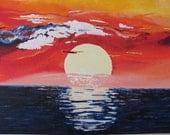 """Original 3D Art - """"Mexican Sunset"""" - International Shipping"""