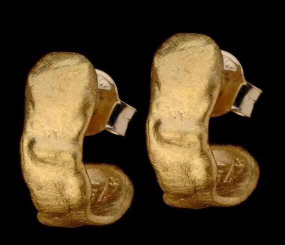 Ear Wrapping 22k Solid Gold Earrings, Half Moon Earrings, Chunky Gold Half Hoop Earrings, Every Day Earrings