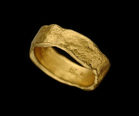 Smashing Rough Looking 22k Solid Gold Wide Wedding Ring, Unisex Wedding Band, Fine Jewelry, Handmade, Resizable, Exclusive Design.