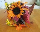 Fall Decoration, Thanksgiving Decor, Small Cornucopia Table Centerpiece, Fall Sunflowers, Fall Floral Arrangement, Holidays, Hostess Gift