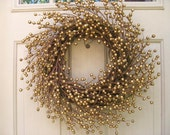 Christmas Wreath, Holiday Wreath, Gold Berry Wreath for Front Door Decor