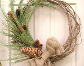 RESERVED FOR COSEANO - Christmas Wreath - Winter Pine and Burlap Wreath - Holiday Wreath - Front Door Wreath