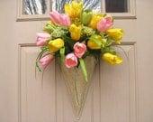 Spring Wreath - Easter Wreath - Tulip Wreath - Pink Wreath - Yellow Wreath - Outdoor Wreath - Cottage Chic
