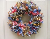 Fabric Wreath, Rag Wreath, Blue Jeans Denim Burlap Bandana Door Wreath, Southwestern Wreath, Cowboy Decor, Rodeo Wreath, Western Decoration