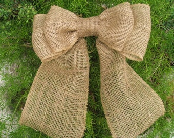 Burlap Bow, Burlap Decoration, Christmas Bow, Burlap Holiday Decor, Christmas Tree Bows, Burlap Chair Back Bow, Rustic Christmas Bow