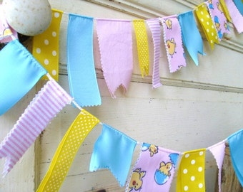 Baby Fabric Garland, Baby Ribbon Banner, Baby Shower Decor, Babys Room, Childs Room Decor, Fabric Bunting, Baby Nursery Decor