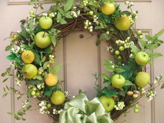 RESERVED FOR SANDY - Fall Door Wreath, Pears and Apples, Autumn Wreath