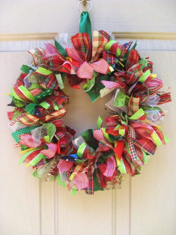 Christmas Wreath, Ribbon Wreath and Fabric Wreath for Christmas Décor, 14""