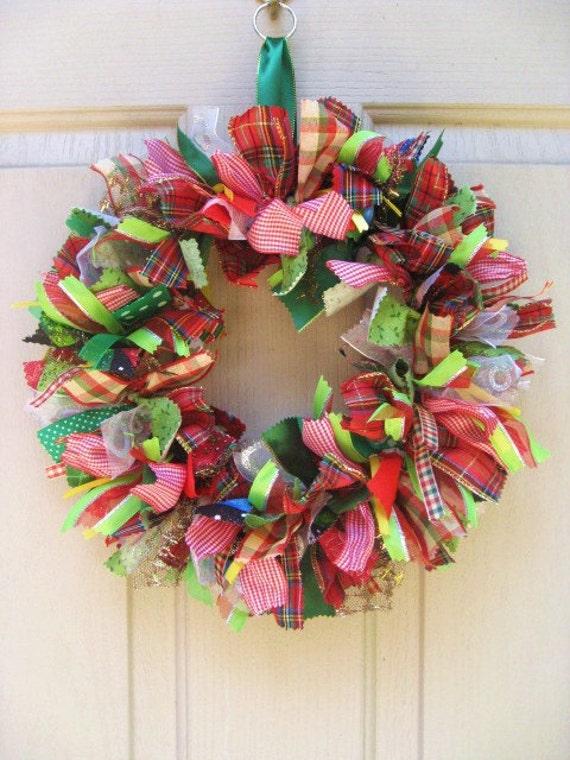 Christmas wreath ribbon wreath and fabric wreath by Christmas wreath making